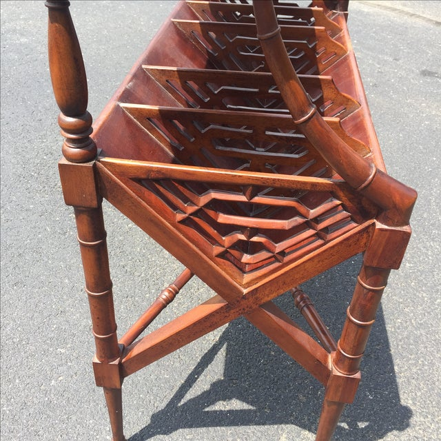 Mahogany Bamboo Chippendale Magazine Table - Image 5 of 10