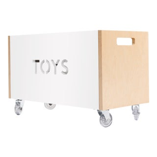 Toy Box Chest on Casters in Birch With Deep White Finish For Sale