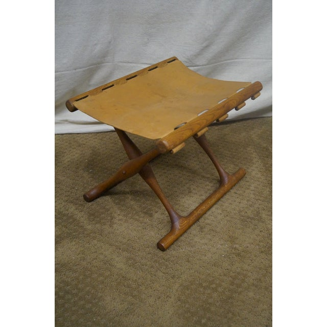 Poul Hundevad 1960s Teak & Leather X Base Stool - Image 2 of 10