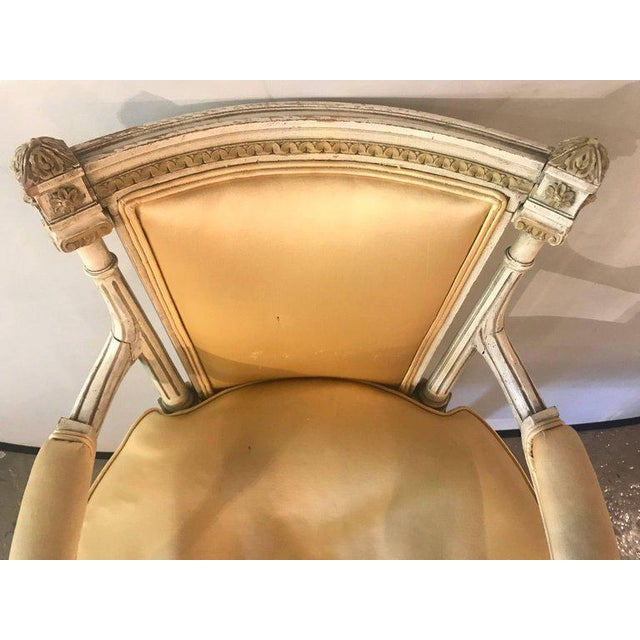 Silk Jansen Parcel Paint and Gilt Decorated Arm or Desk Chair For Sale - Image 7 of 13
