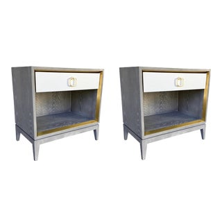 Bungalow 5 Modern Cerused Gray Finished Wood One Drawer Cameron Side Tables/Nightstands Pair For Sale