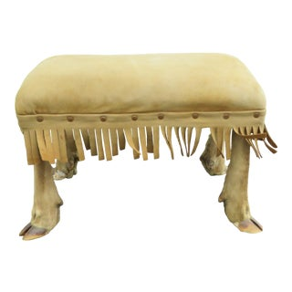 Cloven Split Hoof Legs Leather Small Ottoman Bench Foot Stool 2343 For Sale
