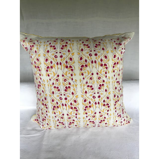 Anglo-Indian John Robshaw Block Print Cotton Pillow For Sale - Image 3 of 6