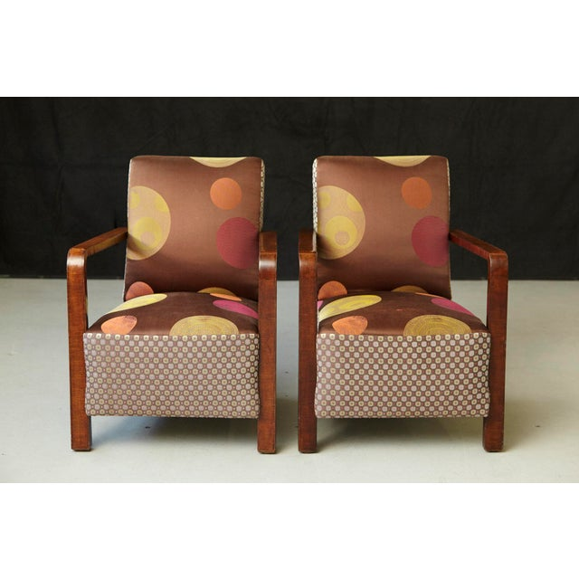 Fine pair of pure Art Deco lounge chairs, circa 1920s from Argentina in it's original condition. The chairs have probably...