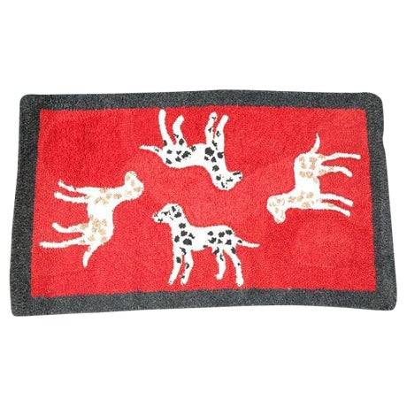 1920s Hand Hooked and Mounted Pictoral Dogs Rug For Sale