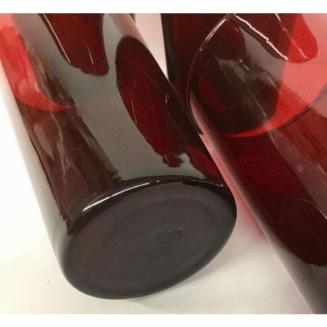 Antique Ruby Red Signed Anchor Hocking Glasses - Set of 4 For Sale In Boston - Image 6 of 10