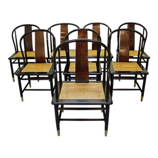 Henredon Asian Modern Black Lacquer Cane Dining Chairs - Set of 8