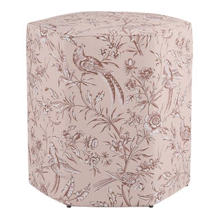 Hexagonal Ottoman in Blush Aviary By Scalamandre For Sale