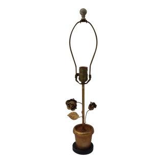 Petit Gold Floral Tole Table Lamp For Sale