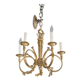 1930s Cast Bronze Huntsman Horn and Tassel Chandelier For Sale