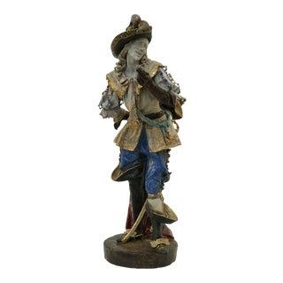 Monumental Early 20th Century Professor E. Pattarino Italian Hand Crafted Gilt Terracotta Majolica Cyrano De Bergerac Statue Figurine For Sale