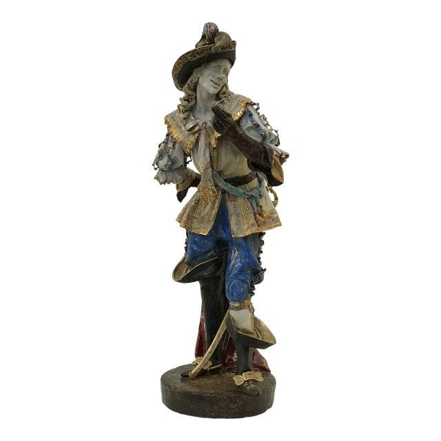 Monumental Early 20th Century Professor E. Pattarino Italian Polychrome and Gilt Terracotta Majolica Cyrano De Bergerac Statue For Sale