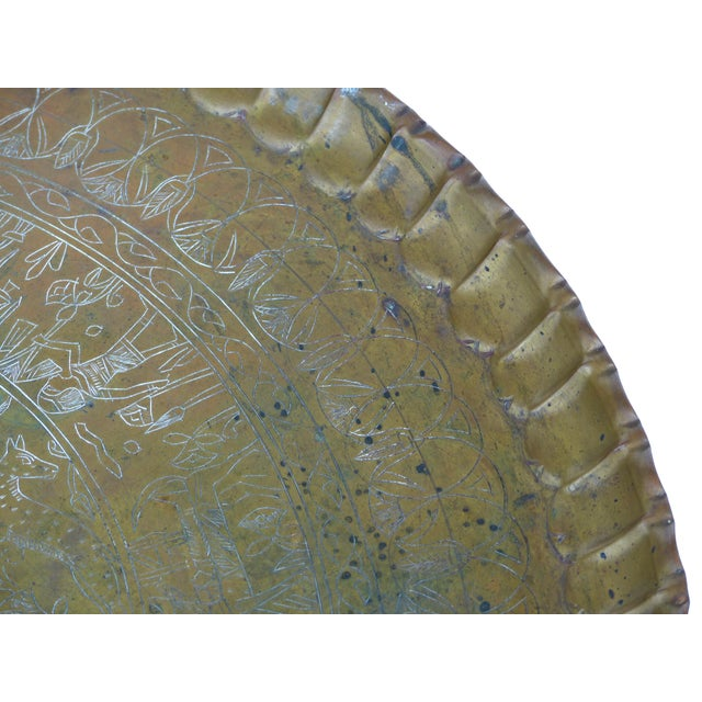 20th Century Moroccan Brass Table Tray on Stand For Sale - Image 10 of 12
