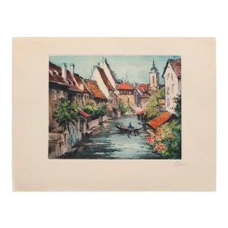 "C. 1900s Marcel J. Baron ""Venice"", Original Hand Colored Impressionist Etching, Signed For Sale"