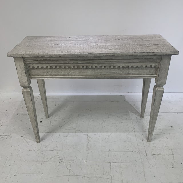Custom console made with antique pediment and reclaimed wood. Great carved detail.
