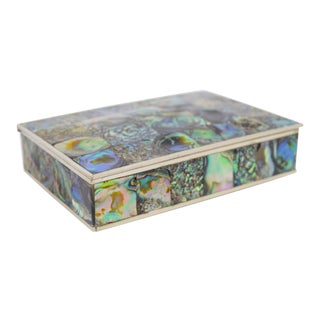 Abalone and Silver Plate Box by Alpaca of Mexico For Sale