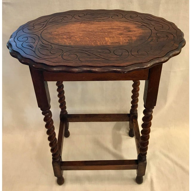 Early 20th Century Early 20th Century Antique English Oak Side Table For Sale - Image 5 of 10