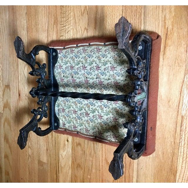 Kingman Needlepoint & Cast Iron Claw Foot Stool | Chairish