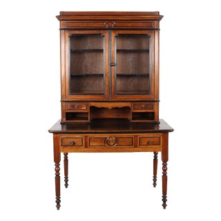 19th C. French Cherry Desk With Bookcase Top For Sale