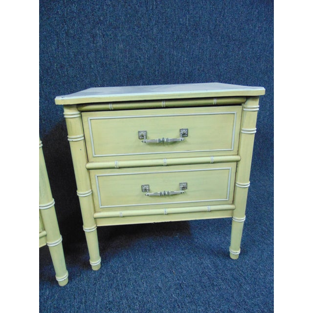 Hollywood Regency Style Cream & Yellow Faux Bamboo Nightstands - a Pair For Sale - Image 4 of 10
