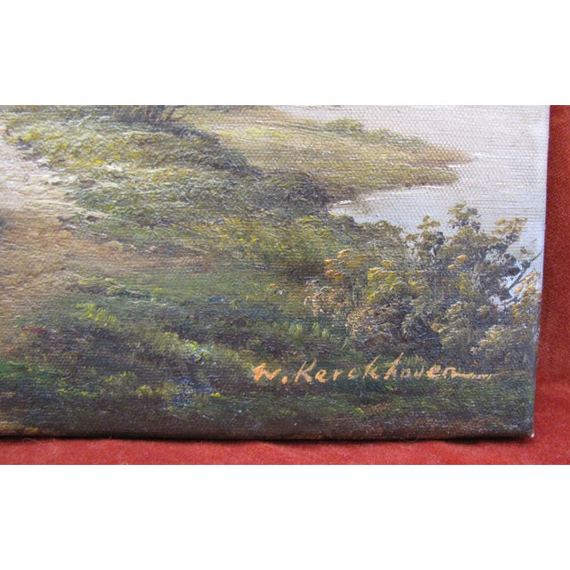 Impressionism W. Kerckhoven Dutch Landscape Oil on Canvas Original Painting For Sale - Image 3 of 3