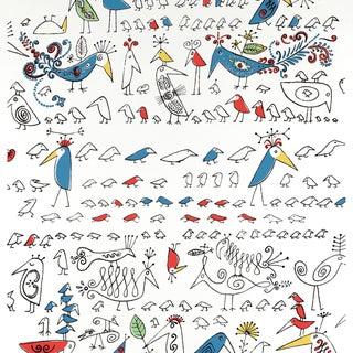Schumacher Aviary Wallpaper in Multi on White For Sale