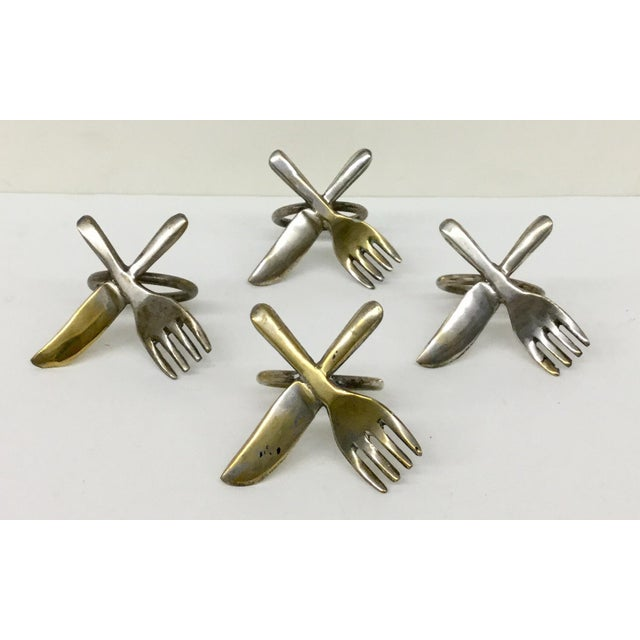 Contemporary Vintage Brass Plate Napkin Rings - Set of 4 For Sale - Image 3 of 6