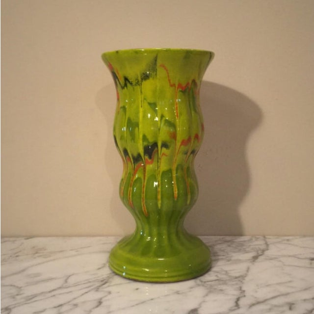 Vintage CFP California Pottery Vase with lime green drip glaze mixed with highlights of red, dark green, and orange is the...