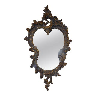 Rococo Style Hand Carved Wooden Mirror with Gilded Details