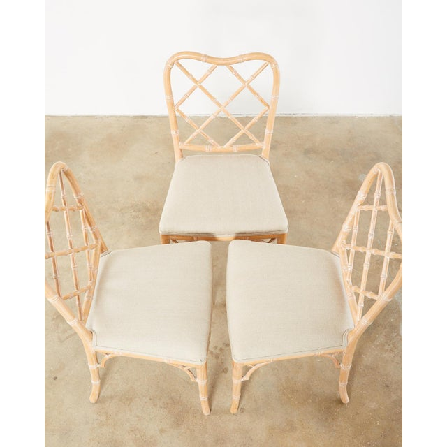 Faux Bamboo Chinese Chippendale Dining Chairs - Set of 3 For Sale - Image 4 of 13