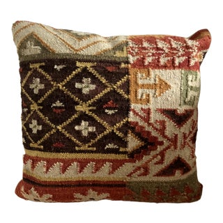 "Rustic Kilim Indoor Throw Pillow 18"" Square For Sale"