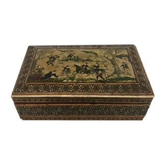 Persian Inlaid and Painted Figural Jewel Box For Sale