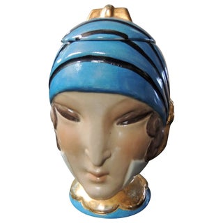 French Double Head Art Deco Robj Paris Signed Ceramic Jar Bonbonniere, 1930 For Sale