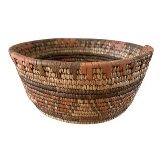 Vintage Bohemian African Cooled Basket Bowl For Sale