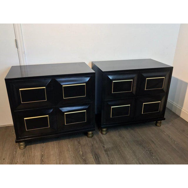 Mastercraft Pair of Mastercraft Black Lacquer and Brass Block Front Cabinets For Sale - Image 4 of 12