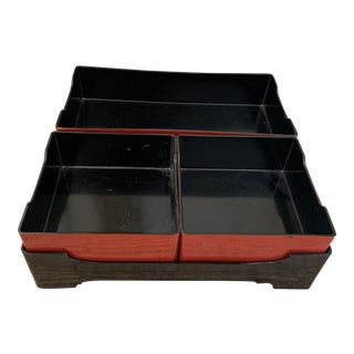 Japanese Black and Crimson Red Lacquered Four Piece Desk Organizer For Sale