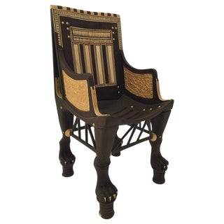 Mid Century Egyptian Revival Gilt Wood Throne Chair For Sale