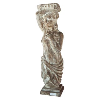 1960s Carved Solid Wood Figure or Pedestal For Sale