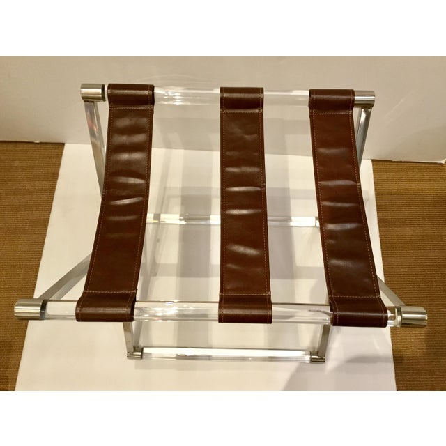Modern Leather and Lucite Luggage Rack For Sale - Image 4 of 5