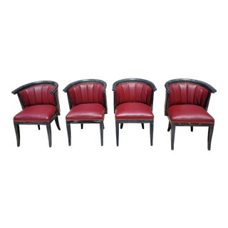 Mid Century Harold Schwartz for Romweber Leather Chairs - Set of 4 For Sale