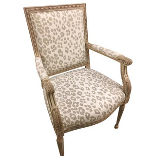 Early 21st Century Schumacher Louis XVI Armchair in Iconic Leopard- Sample For Sale