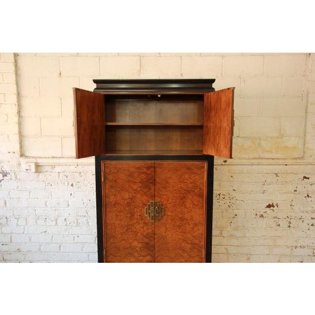 Century Furniture Black Lacquer & Burlwood Armoire - Image 10 of 11