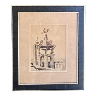 Vintage 1930s French Etching Malcolm Osborne Signed For Sale