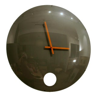 Postmodern Oversized Round Curved Glass Clock