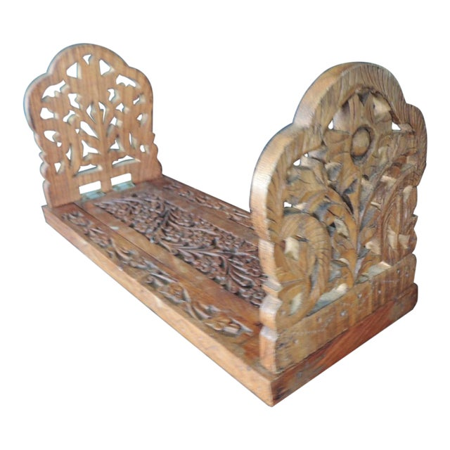 Hand Carved Folding Indian Bookstand or Shelf For Sale