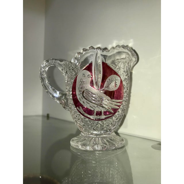Glass Amaris Nachtmann Lead Crystal Creamer With Red Bird For Sale - Image 7 of 7