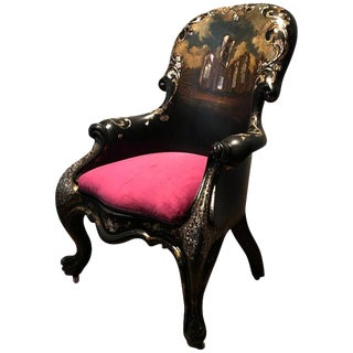 19th Century English Papier Mâché Mother of Pearl Inlaid Chair For Sale