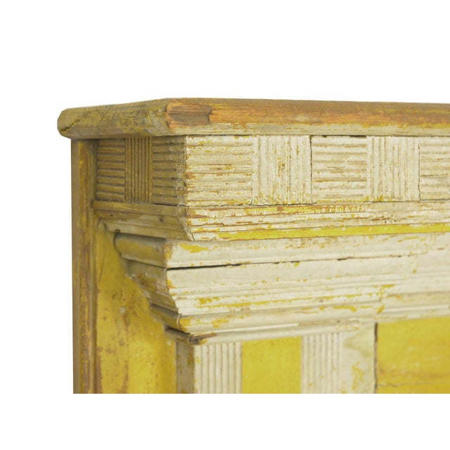 White Neoclassical Federal Antique Fireplace Surround Mantel in Early Yellow & White Paint For Sale - Image 8 of 13