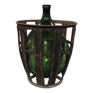 Vintage Mid 20th Century Wine Jug With Metal Basket For Sale