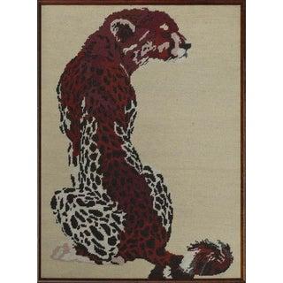 "1960s ""Cheetah"" Needlepoint Framed Panel For Sale"